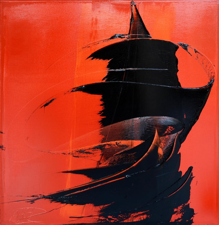Black on red abstract squared oil painting, untitled 3