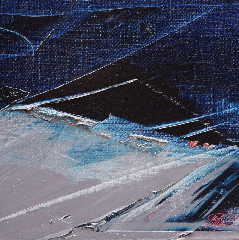 Blue, Grey and Red Abstract Squared Oil Painting, Untitled For Sale 1