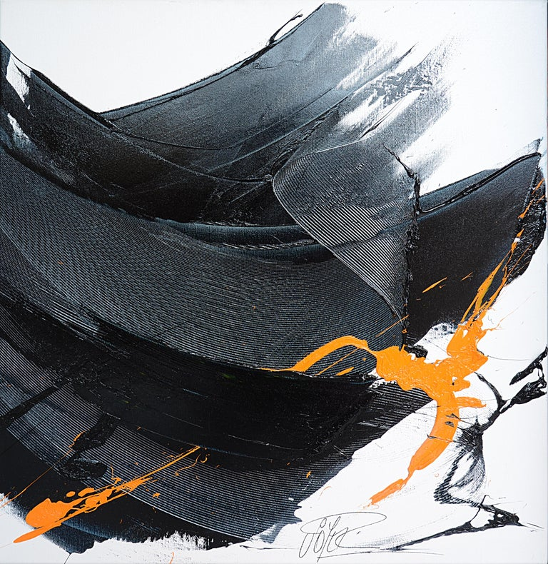 Black on White with Orange Spurt Abstract Squared Oil Painting, Untitled 8