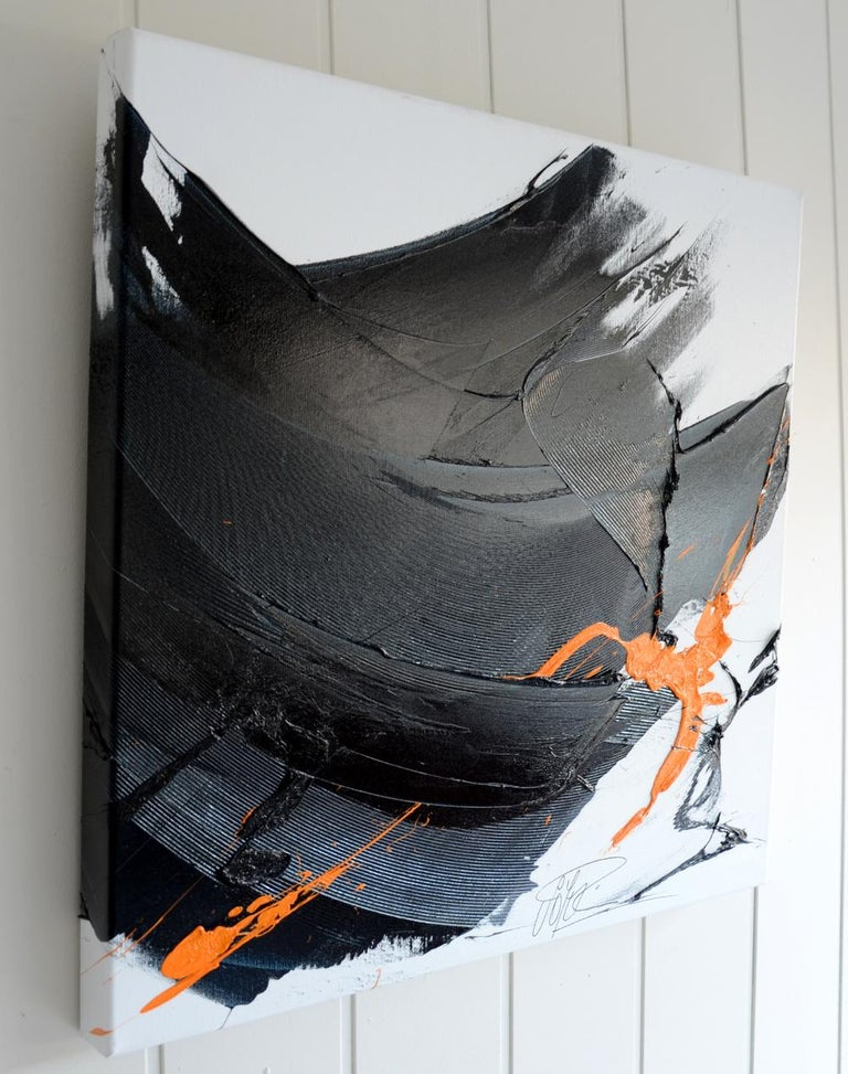 Black on White with Orange Spurt Abstract Squared Oil Painting, Untitled 10