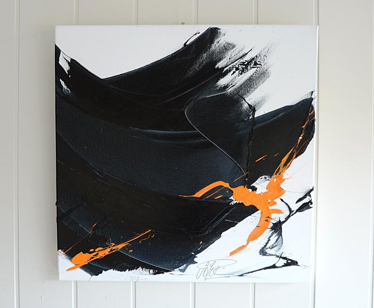 Black on White with Orange Spurt Abstract Squared Oil Painting, Untitled 9