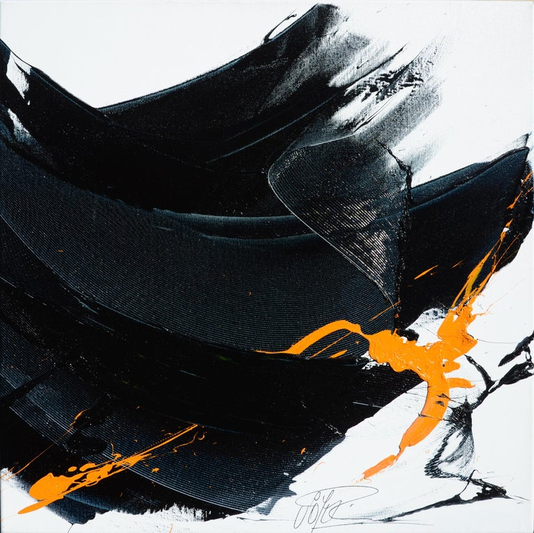 Black on White with Orange Spurt Abstract Squared Oil Painting, Untitled 14