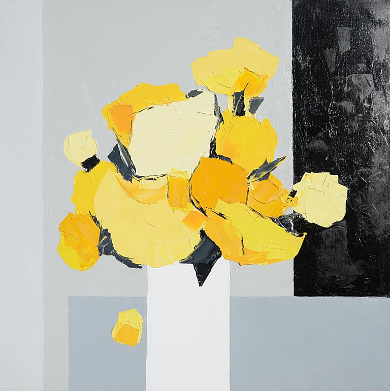 """Light"" (""Lumière""), yellow bouquet on greyscale background squared oil painting 1"