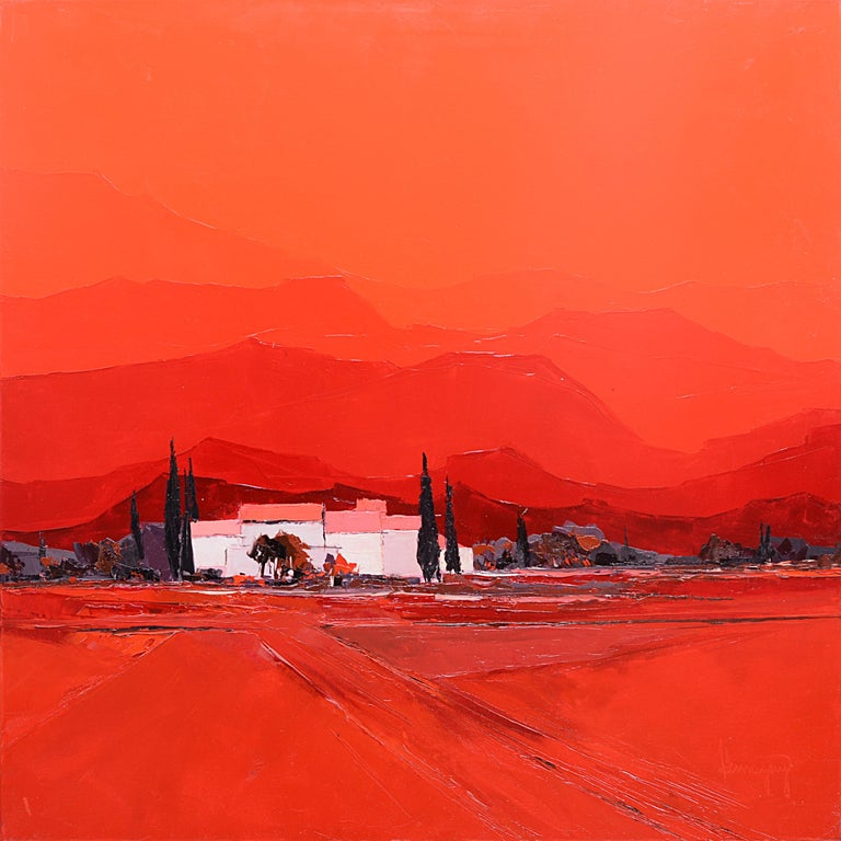 """Marcel Demagny Landscape Painting - """"Summer Heat"""" (""""Chaleur d'été""""), Red Lanscape Squared Oil Painting"""