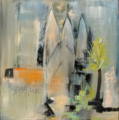 """Cathédrale"" (""Cathedral""), Blue Orange Green Grey Abstract Squared Oil Painting"