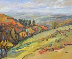 """""""The Golden Flow"""" (""""La coulée dorée""""), Impressionist Landscape Oil Painting"""
