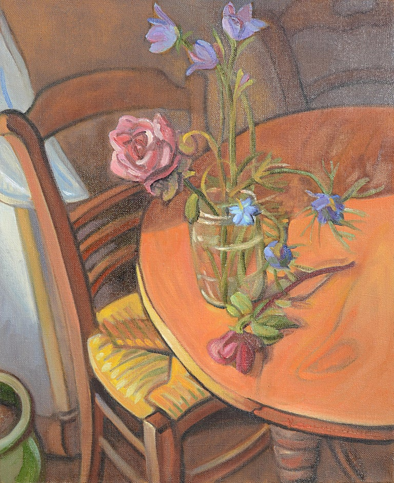 "Yves Calméjane Still-Life Painting - ""The Rose Bowl"" (""Le bocal à la rose""), Still Life Interior Oil Painting"