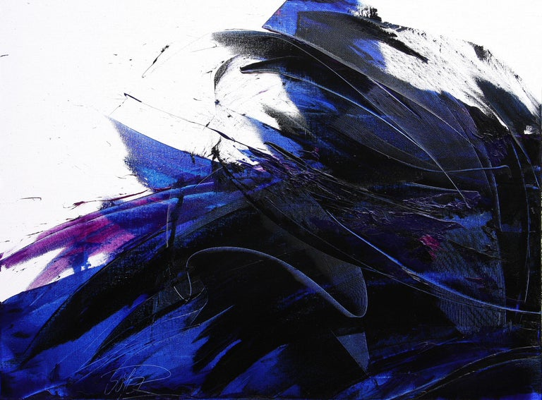 Jean Soyer Abstract Painting - Deep Blue Wave with Purple Tints on White Abstract Oil Painting, Untitled