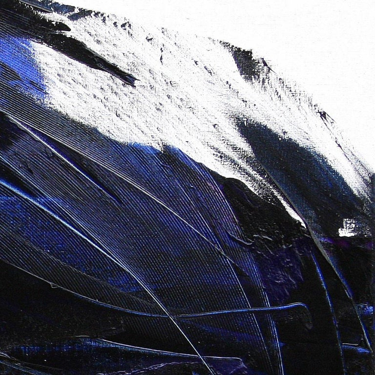 This large painting depicts a great dark blue wave or explosion, enhanced by hints of purple which kind of anchor it in reality.  This masterpiece full of matter and reliefs would truly magnify a sober modern interior.  This painting is not and does