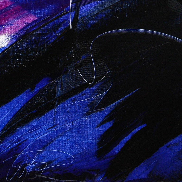 Deep Blue Wave with Purple Tints on White Abstract Oil Painting, Untitled 4