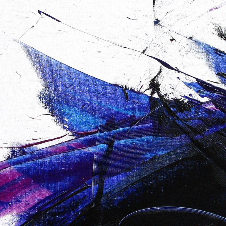 Deep Blue Wave with Purple Tints on White Abstract Oil Painting, Untitled 5