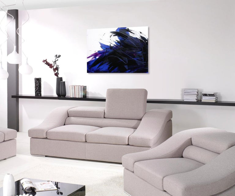 Deep Blue Wave with Purple Tints on White Abstract Oil Painting, Untitled - Black Abstract Painting by Jean Soyer