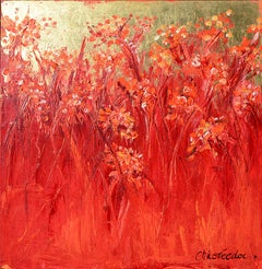 """Grasses, Gold Foil"" (""Les graminées, feuille d'or""), Red Squared Oil Painting"