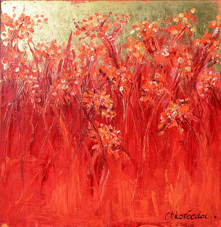 """Chicorée Abstract Painting - """"Grasses, Gold Foil"""" (""""Les graminées, feuille d'or""""), Red Squared Oil Painting"""