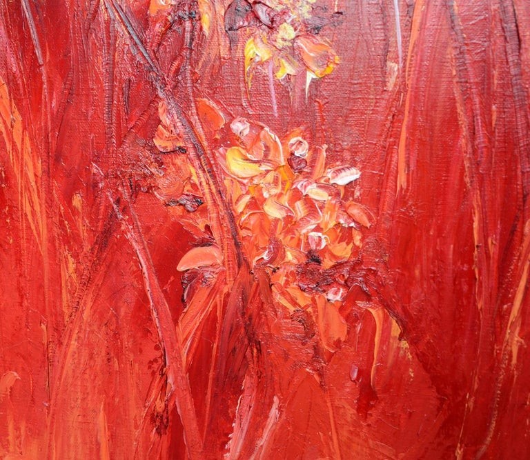 A bush of frank red grasses with lots of reliefs on a sky gilded with 22carat gold.  Is it a blaze, or is it a sunset?  In any case, it will undoubtedly bring warmth wherever it is installed.  This piece is not framed.  Chicorée is a French