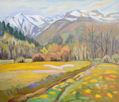 """Le Puy de Sancy"", Impressionist Mountain Landscape Oil Painting"