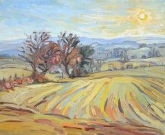 """""""Low Sun"""" (""""Soleil bas""""), Impressionist Landscape Oil Painting"""