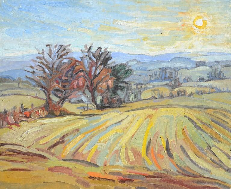 """""""Low Sun"""" (""""Soleil bas""""), Impressionist Landscape Oil Painting 1"""