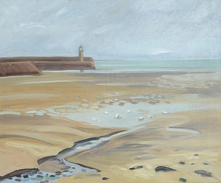 "Yves Calméjane Figurative Painting - ""The Keeper of the Salt Desert"", Impressionist Marine Landscape Oil Painting"