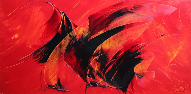 Powerful Black on Yellowish Red Abstract Oil Painting, Untitled 1
