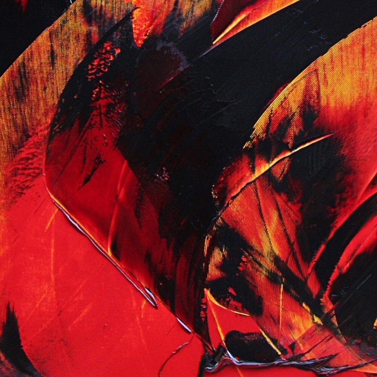 Powerful Black on Yellowish Red Abstract Oil Painting, Untitled 3
