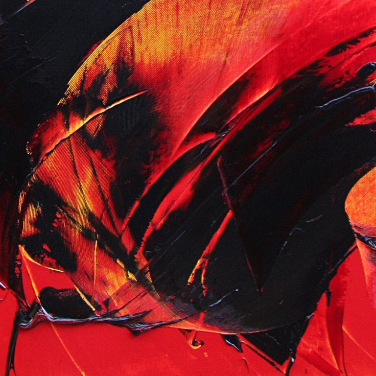 Powerful Black on Yellowish Red Abstract Oil Painting, Untitled 5