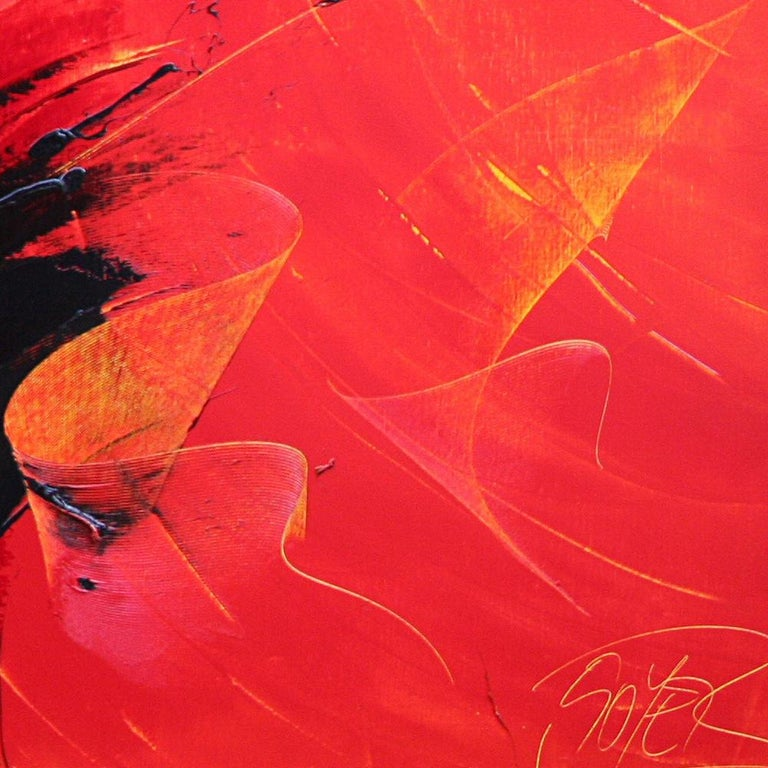 Powerful Black on Yellowish Red Abstract Oil Painting, Untitled 6