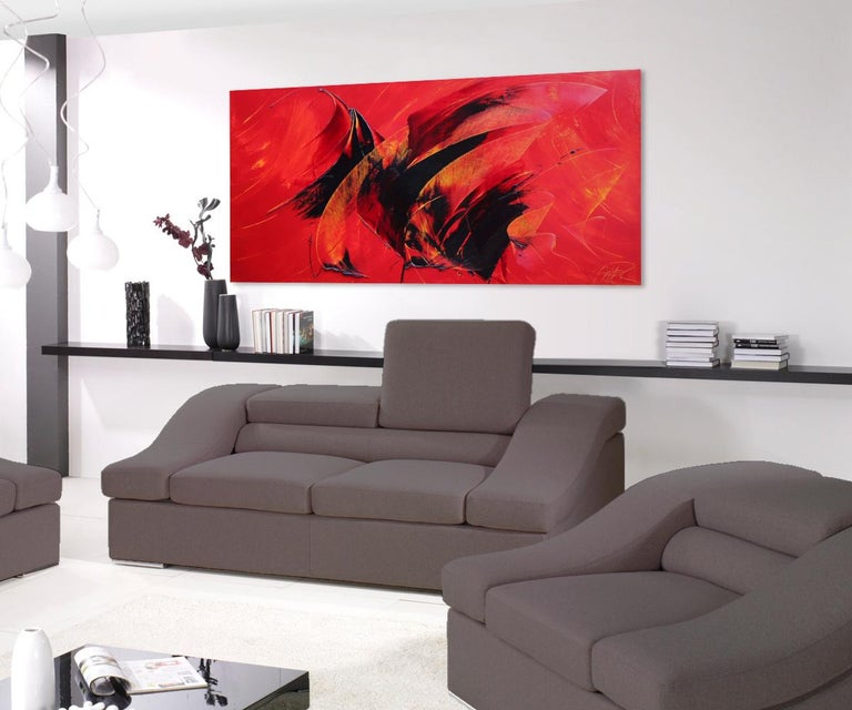 Powerful Black on Yellowish Red Abstract Oil Painting, Untitled 2