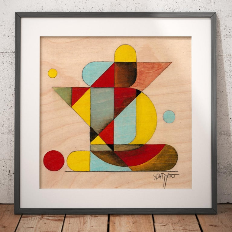 Gymno #1, Small Colorful Geometrical Abstraction, Acrylic on Birch Wood - Abstract Geometric Painting by Antony Squizzato