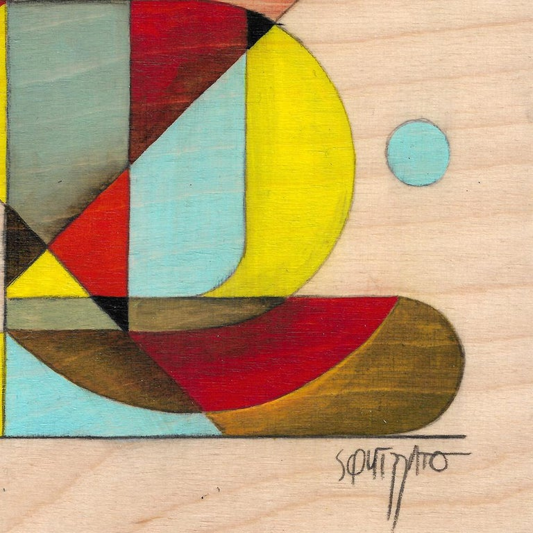 Gymno #1, Small Colorful Geometrical Abstraction, Acrylic on Birch Wood - Beige Abstract Painting by Antony Squizzato