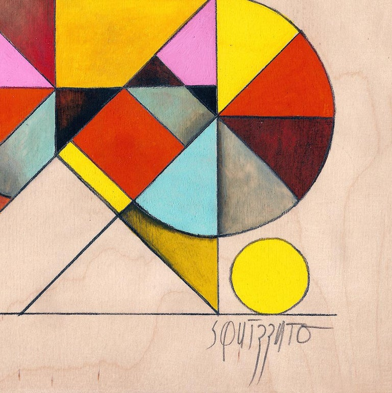 Gymno #2, Small Colorful Geometrical Abstraction, Acrylic on Birch Wood 4