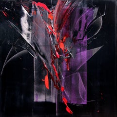 Red and Purple Fireworks on Black Background Abstract Oil Painting, Untitled