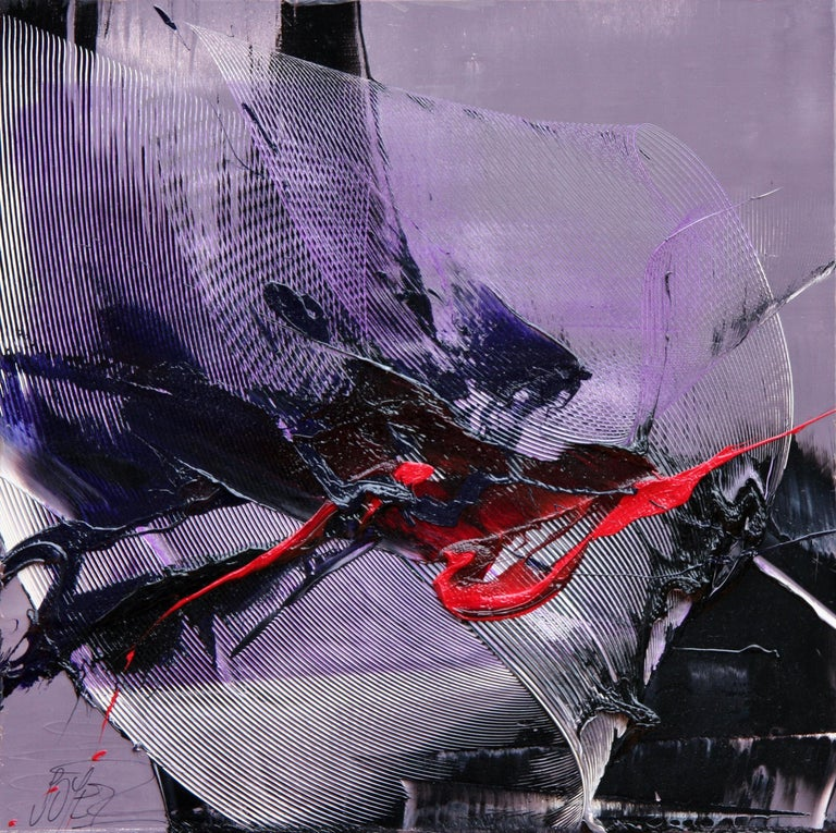 Dark Moves and Red Spurt on Mauve Background Abstract Oil Painting, Untitled 3