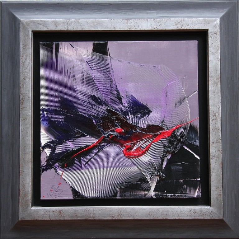 Jean Soyer Abstract Painting - Dark Moves and Red Spurt on Mauve Background Abstract Oil Painting, Untitled