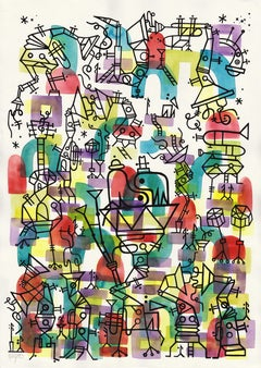 Herbie's Playground, Large Watercolors and Ink on the Jazz Theme