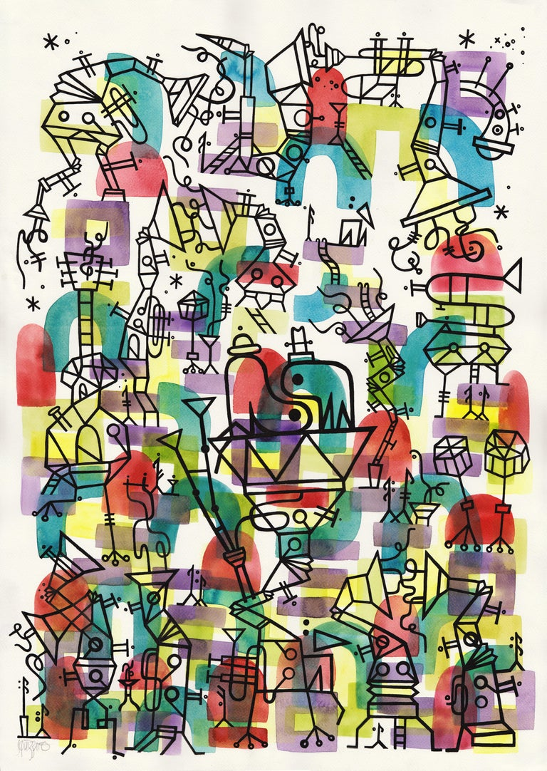 Antony Squizzato Abstract Drawing - Herbie's Playground, Large Watercolors and Ink on the Jazz Theme