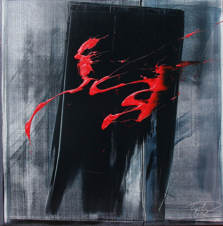 Jean Soyer Figurative Painting - Red Ideograms on Black and Grey Background Abstract Oil Painting, Untitled