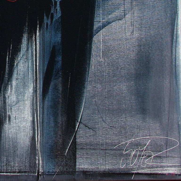 Red Ideograms on Black and Grey Background Abstract Oil Painting, Untitled For Sale 1
