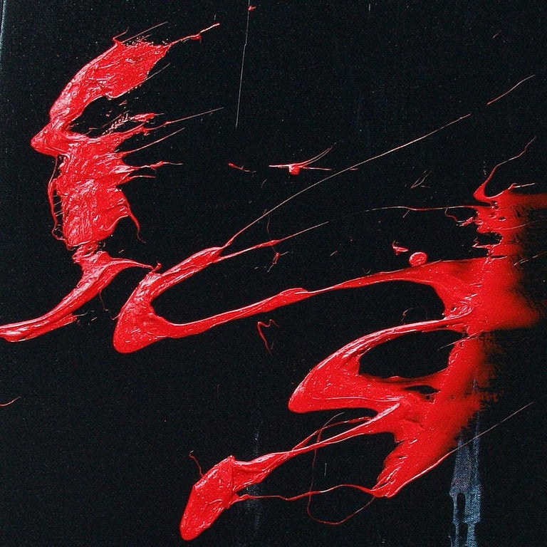 Red Ideograms on Black and Grey Background Abstract Oil Painting, Untitled For Sale 2