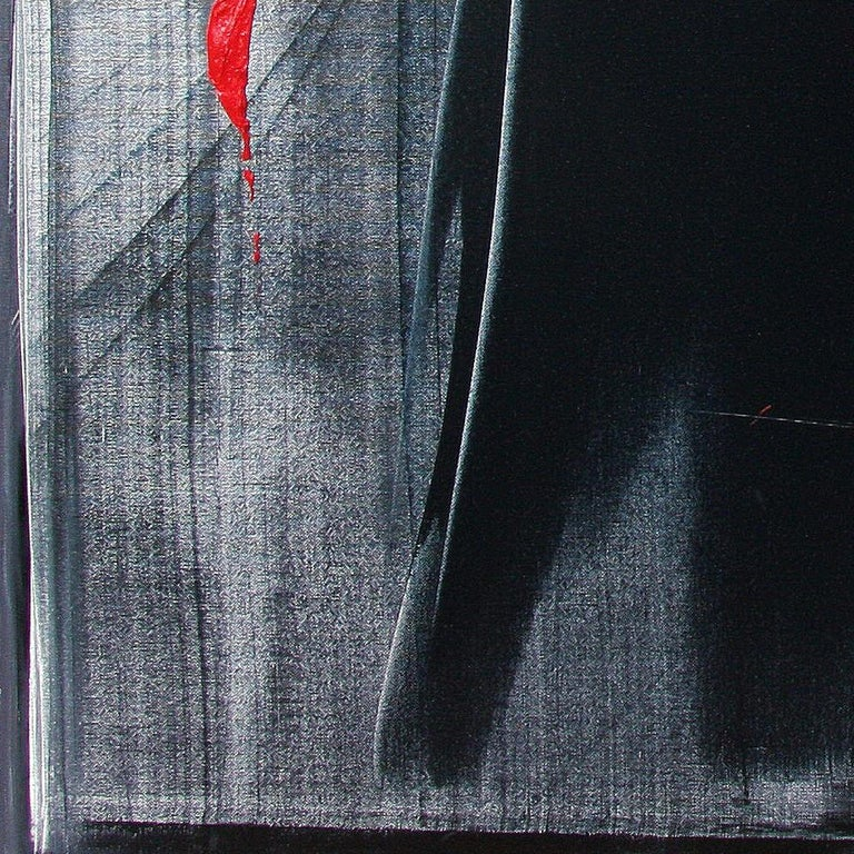 Red Ideograms on Black and Grey Background Abstract Oil Painting, Untitled For Sale 3