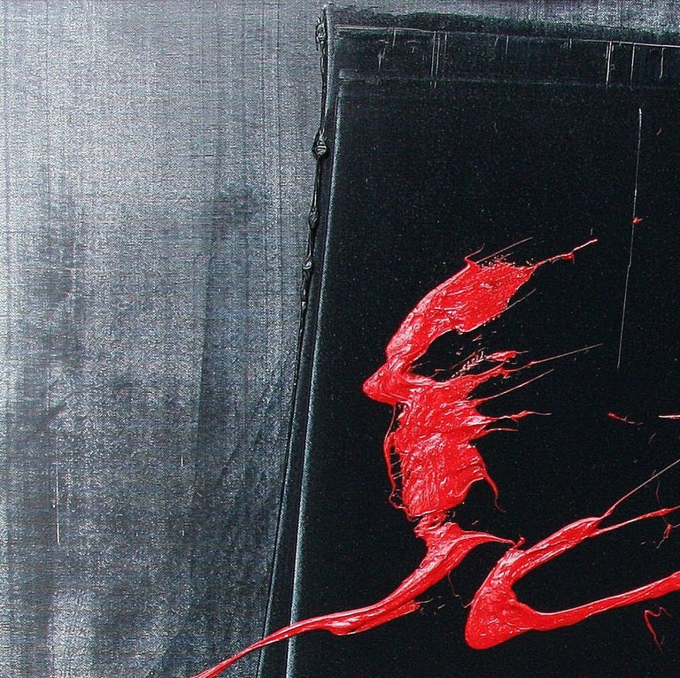 Red Ideograms on Black and Grey Background Abstract Oil Painting, Untitled For Sale 4
