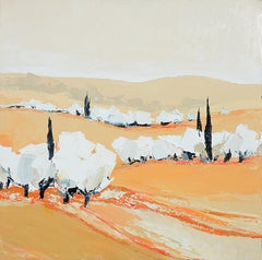 """Day Softness"" (""Douceur du jour""), White Trees Landscape Squared Oil Painting"