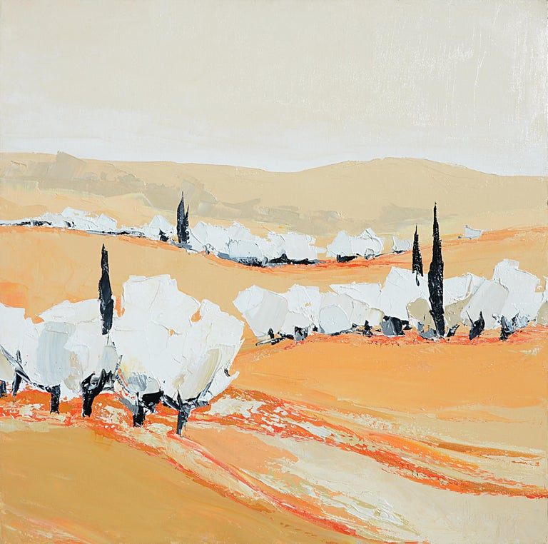 "Marcel Demagny Figurative Painting - ""Day Softness"" (""Douceur du jour""), White Trees Landscape Squared Oil Painting"