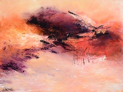 """Mount Carmel"", Large Abstract Landscape Oil Painting"