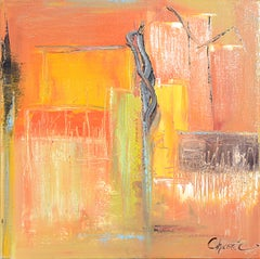 """The Tree"" (""L'arbre""),Orange Abstract Squared Oil Painting"