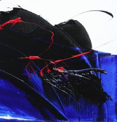 Red, Black and Blue on White Background Abstract Squared Oil Painting, Untitled