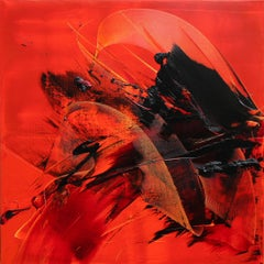 Large Black on Red Background Abstract Squared Oil Painting, Untitled