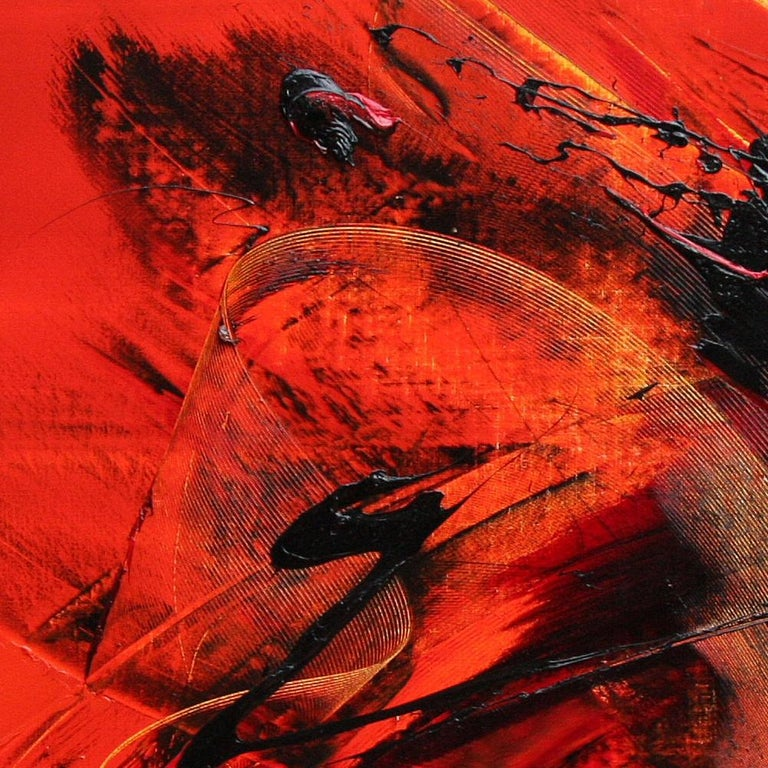 Large Black on Red Background Abstract Squared Oil Painting, Untitled For Sale 2