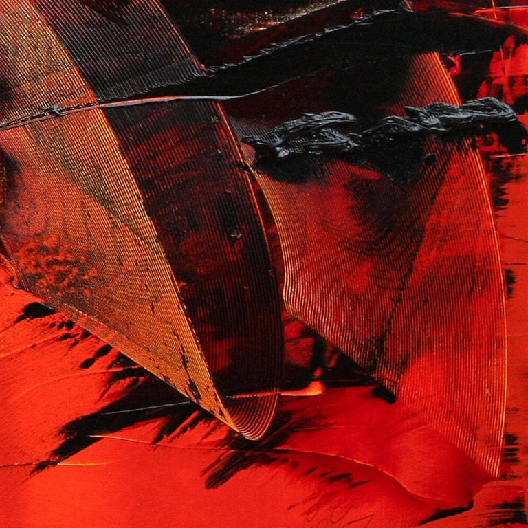 Large Black on Red Background Abstract Squared Oil Painting, Untitled For Sale 3