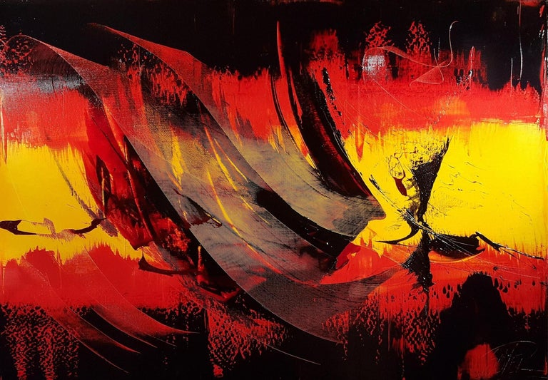 Large Black on Red and Yellow Lyrical Abstraction, Oil Painting, Untitled 2